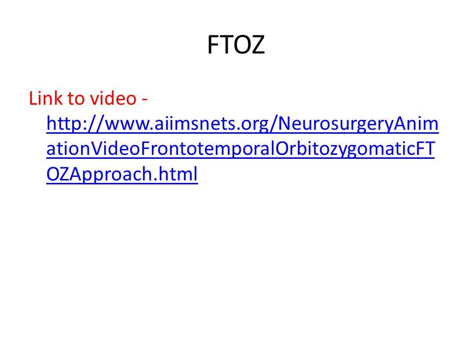 FTOZ Link to video - http://www.aiimsnets.org/NeurosurgeryAnim ationVideoFrontotemporalOrbitozygomaticFT OZApproach.html http://www.aiimsnets.org/Neur