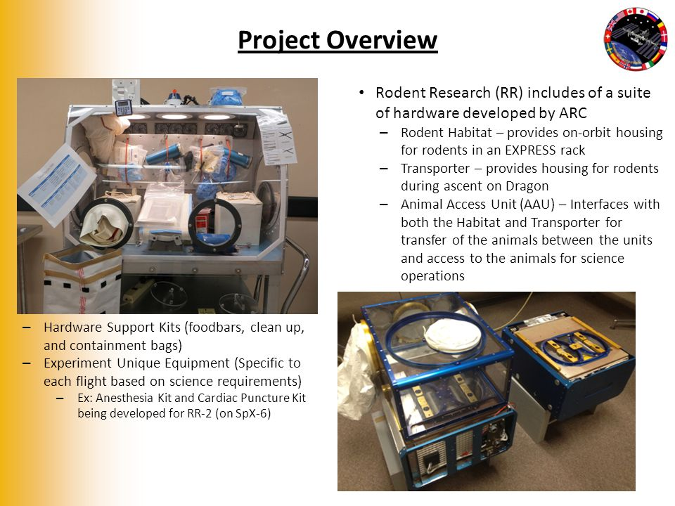 Project Overview Rodent Research (RR) includes of a suite of hardware developed by ARC – Rodent Habitat – provides on-orbit housing for rodents in an EXPRESS rack – Transporter – provides housing for rodents during ascent on Dragon – Animal Access Unit (AAU) – Interfaces with both the Habitat and Transporter for transfer of the animals between the units and access to the animals for science operations 3 – Hardware Support Kits (foodbars, clean up, and containment bags) – Experiment Unique Equipment (Specific to each flight based on science requirements) – Ex: Anesthesia Kit and Cardiac Puncture Kit being developed for RR-2 (on SpX-6)