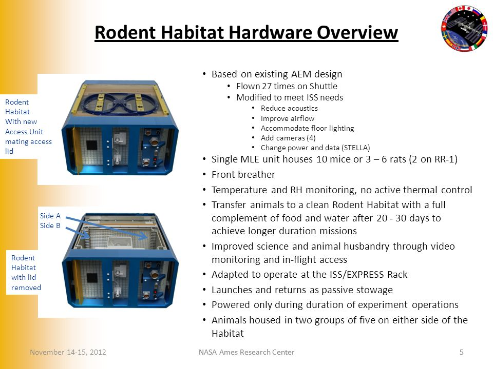 Based on existing AEM design Flown 27 times on Shuttle Modified to meet ISS needs Reduce acoustics Improve airflow Accommodate floor lighting Add cameras (4) Change power and data (STELLA) Single MLE unit houses 10 mice or 3 – 6 rats (2 on RR-1) Front breather Temperature and RH monitoring, no active thermal control Transfer animals to a clean Rodent Habitat with a full complement of food and water after 20 - 30 days to achieve longer duration missions Improved science and animal husbandry through video monitoring and in-flight access Adapted to operate at the ISS/EXPRESS Rack Launches and returns as passive stowage Powered only during duration of experiment operations Animals housed in two groups of five on either side of the Habitat Rodent Habitat with lid removed Rodent Habitat With new Access Unit mating access lid NASA Ames Research Center5 5 Rodent Habitat Hardware Overview November 14-15, 2012 Side A Side B