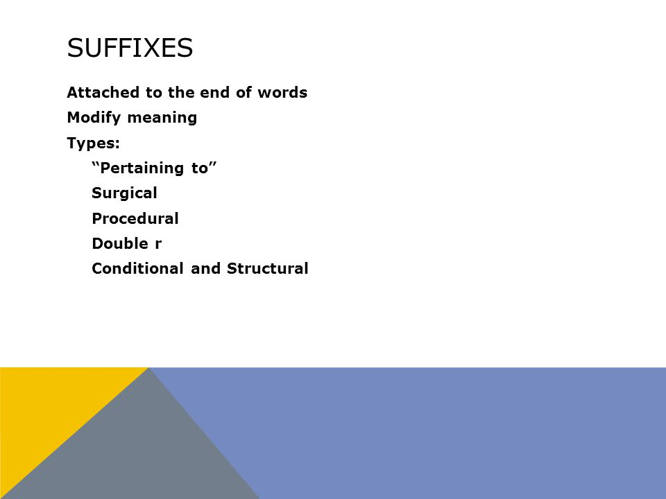 SUFFIXES Attached to the end of words Modify meaning Types: Pertaining to Surgical Procedural Double r Conditional and Structural