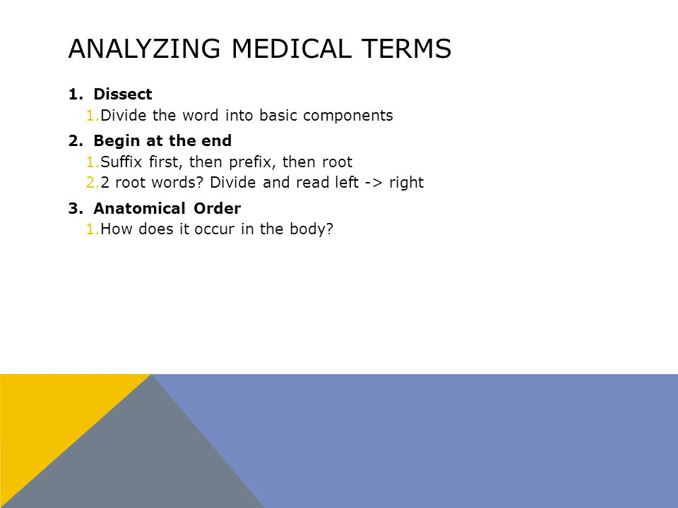 ANALYZING MEDICAL TERMS 1.Dissect 1.Divide the word into basic components 2.Begin at the end 1.Suffix first, then prefix, then root 2.2 root words.