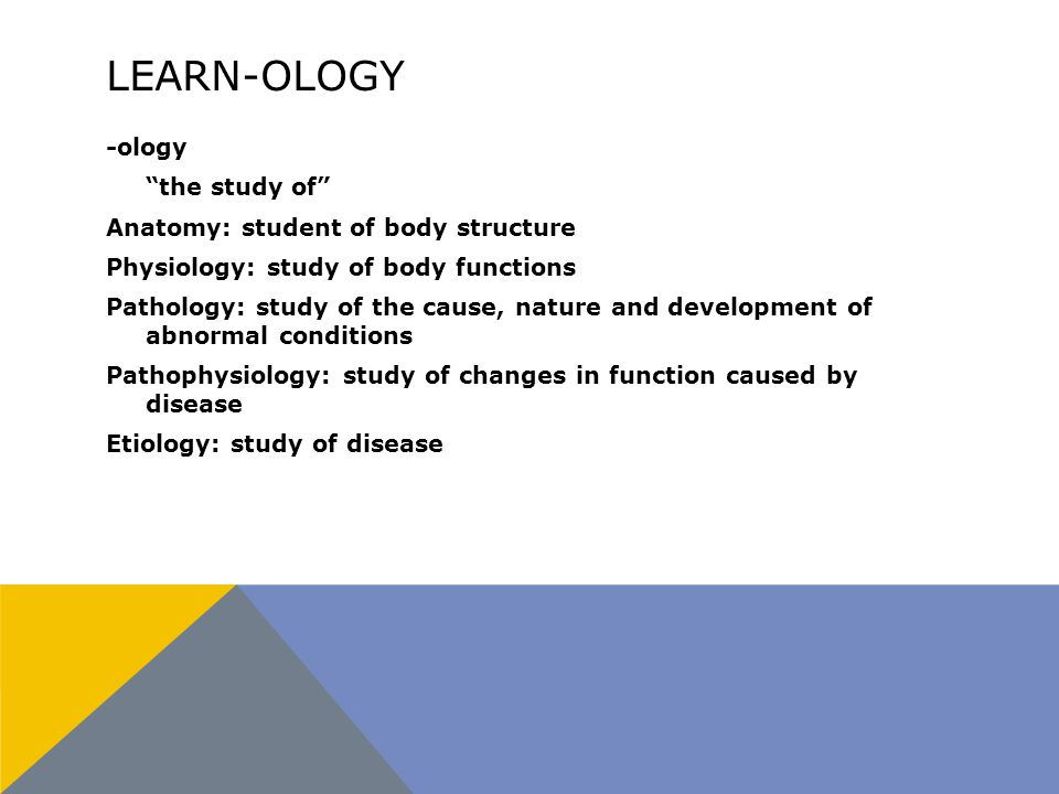 LEARN-OLOGY -ology the study of Anatomy: student of body structure Physiology: study of body functions Pathology: study of the cause, nature and development of abnormal conditions Pathophysiology: study of changes in function caused by disease Etiology: study of disease