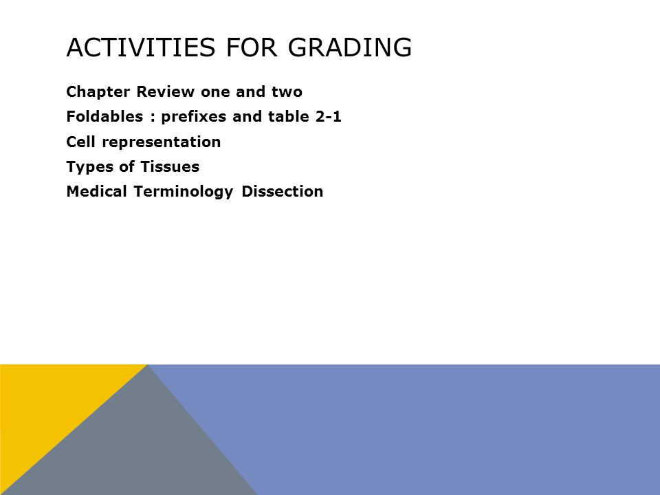 ACTIVITIES FOR GRADING Chapter Review one and two Foldables : prefixes and table 2-1 Cell representation Types of Tissues Medical Terminology Dissection