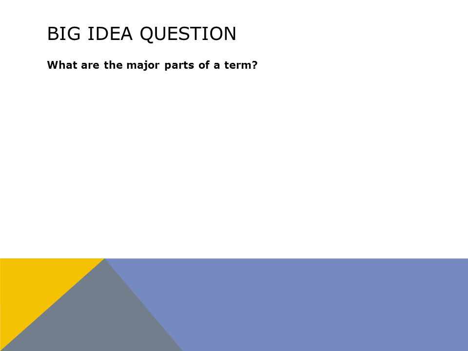 BIG IDEA QUESTION What are the major parts of a term?