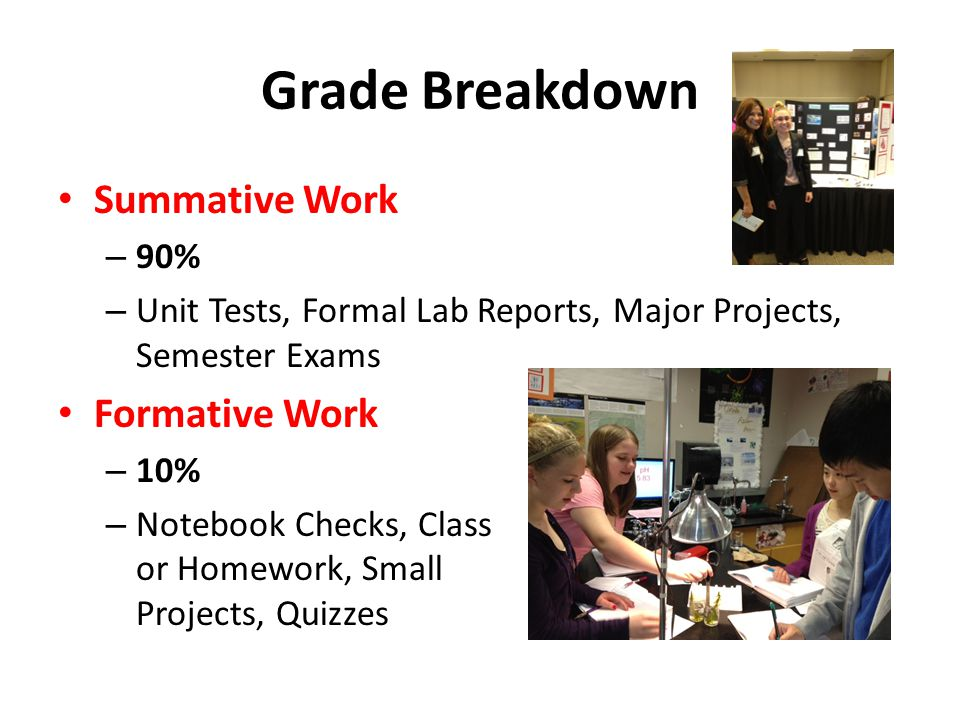 Grade Breakdown Summative Work – 90% – Unit Tests, Formal Lab Reports, Major Projects, Semester Exams Formative Work – 10% – Notebook Checks, Class or