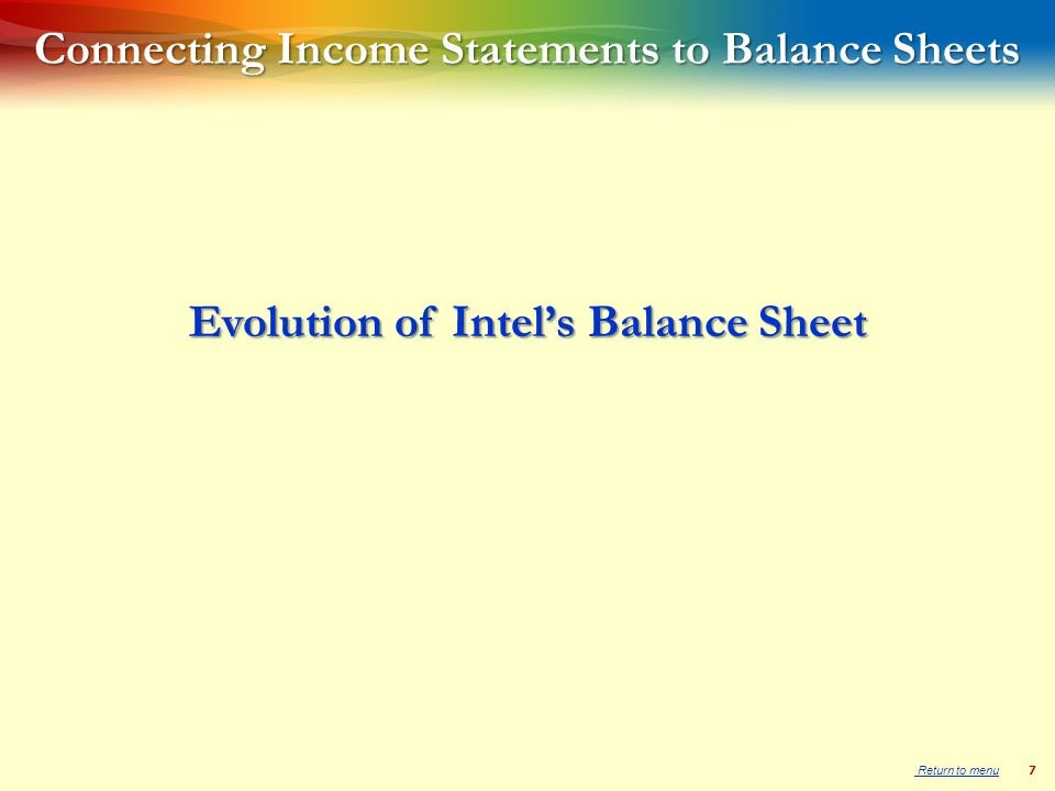 7 Connecting Income Statements to Balance Sheets Evolution of Intel's Balance Sheet Return to menu