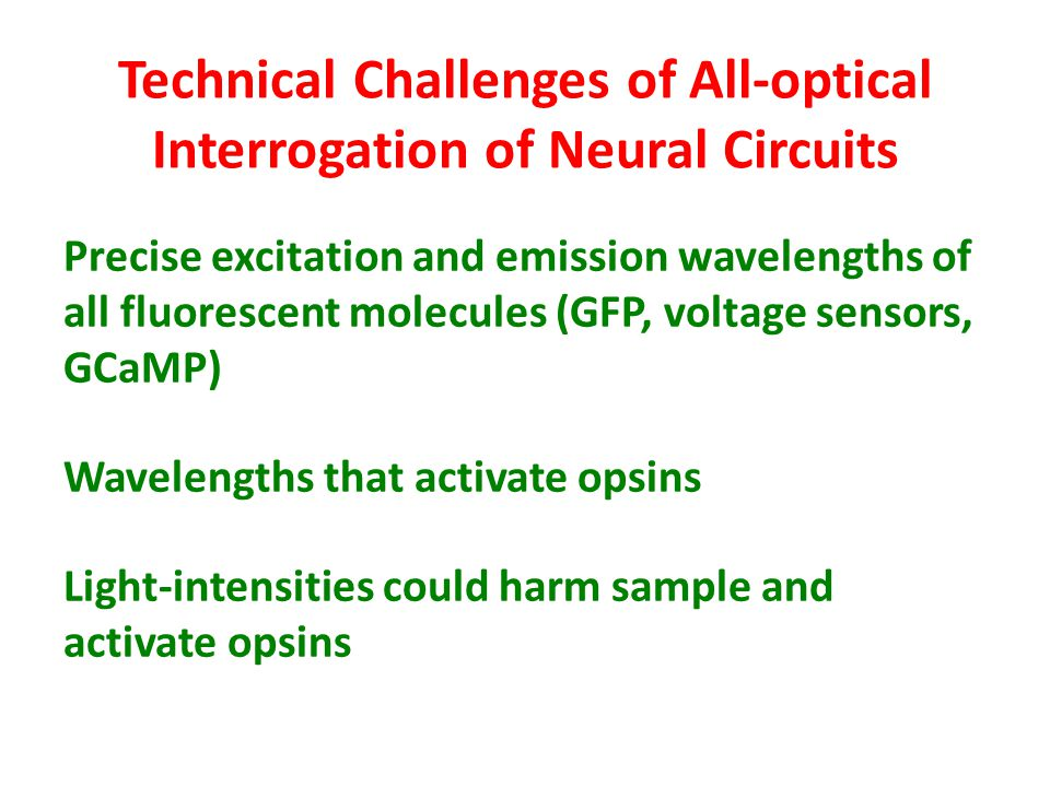 Technical Challenges of All-optical Interrogation of Neural Circuits Precise excitation and emission wavelengths of all fluorescent molecules (GFP, voltage sensors, GCaMP) Wavelengths that activate opsins Light-intensities could harm sample and activate opsins