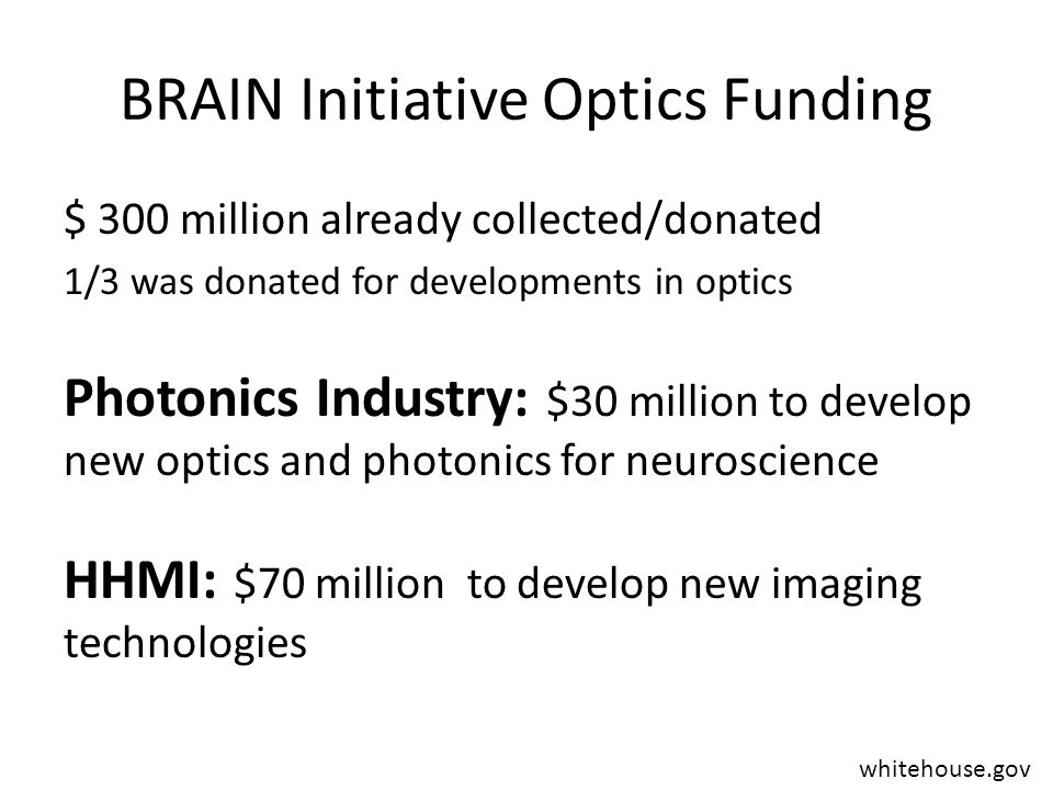 BRAIN Initiative Optics Funding $ 300 million already collected/donated 1/3 was donated for developments in optics Photonics Industry: $30 million to develop new optics and photonics for neuroscience HHMI: $70 million to develop new imaging technologies whitehouse.gov