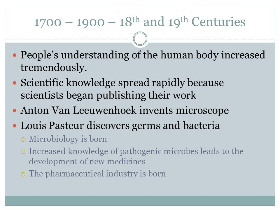 1700 – 1900 – 18 th and 19 th Centuries People's understanding of the human body increased tremendously. Scientific knowledge spread rapidly because s