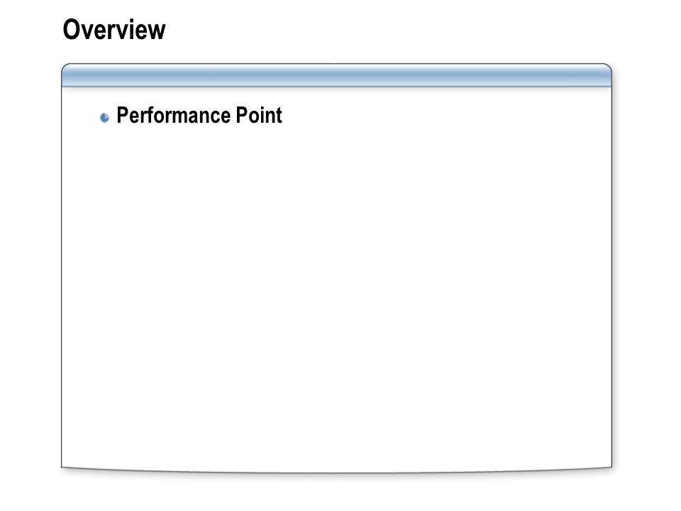Overview Performance Point