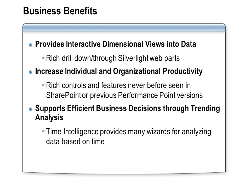 Business Benefits Provides Interactive Dimensional Views into Data  Rich drill down/through Silverlight web parts Increase Individual and Organizational Productivity  Rich controls and features never before seen in SharePoint or previous Performance Point versions Supports Efficient Business Decisions through Trending Analysis  Time Intelligence provides many wizards for analyzing data based on time