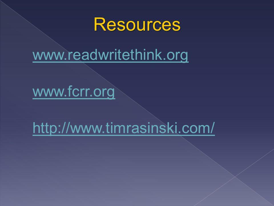 Resources www.readwritethink.org www.fcrr.org http://www.timrasinski.com/