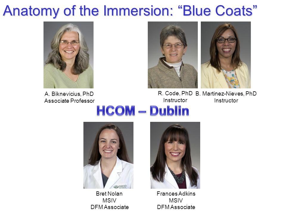 "Anatomy of the Immersion: ""Blue Coats"" A. Biknevicius, PhD Associate Professor R. Code, PhD Instructor B. Martinez-Nieves, PhD Instructor Frances Adki"