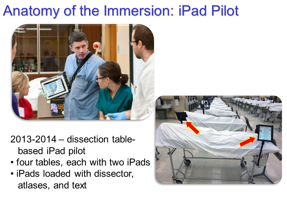 Anatomy of the Immersion: iPad Pilot 2013-2014 – dissection table- based iPad pilot four tables, each with two iPads iPads loaded with dissector, atlases, and text