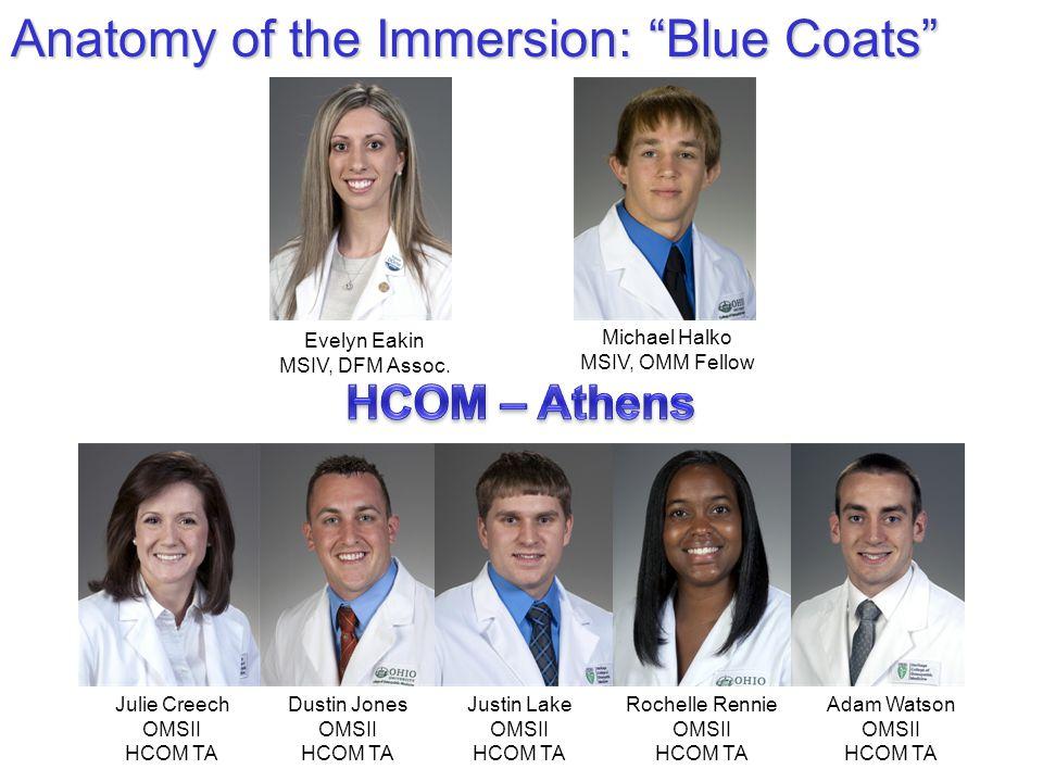 "Anatomy of the Immersion: ""Blue Coats"" Michael Halko MSIV, OMM Fellow Adam Watson OMSII HCOM TA Evelyn Eakin MSIV, DFM Assoc. Dustin Jones OMSII HCOM"