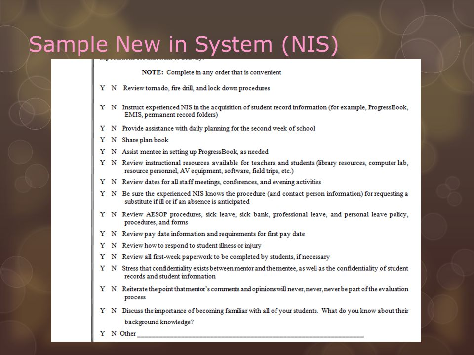 Sample New in System (NIS)