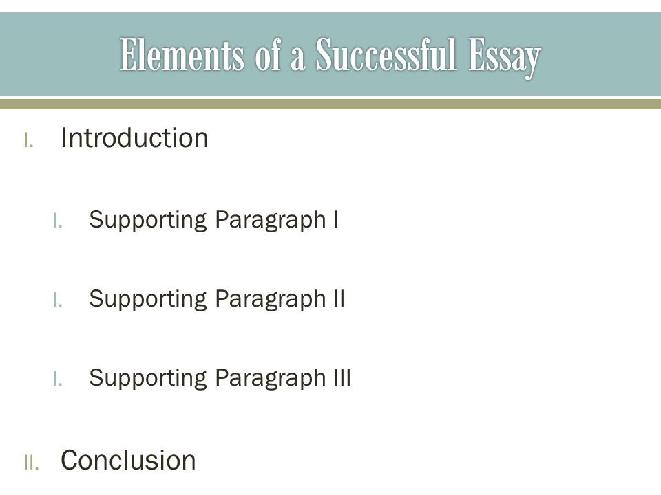 I. Introduction I. Supporting Paragraph I I. Supporting Paragraph II I.