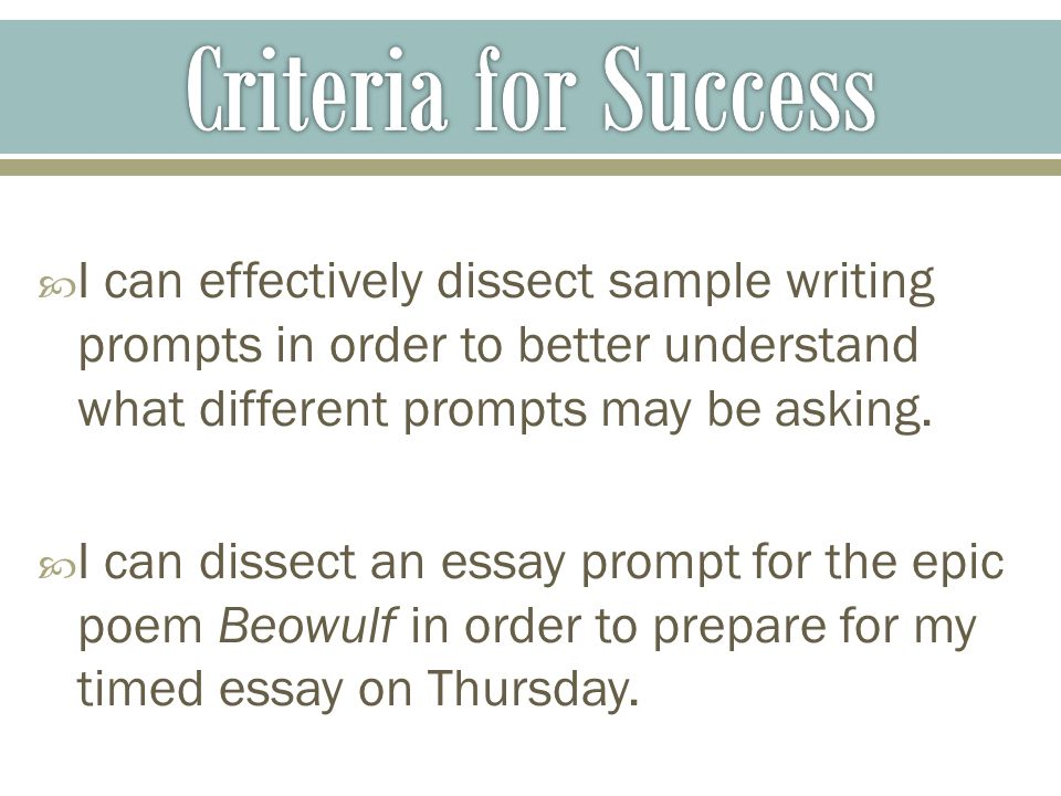  I can effectively dissect sample writing prompts in order to better understand what different prompts may be asking.
