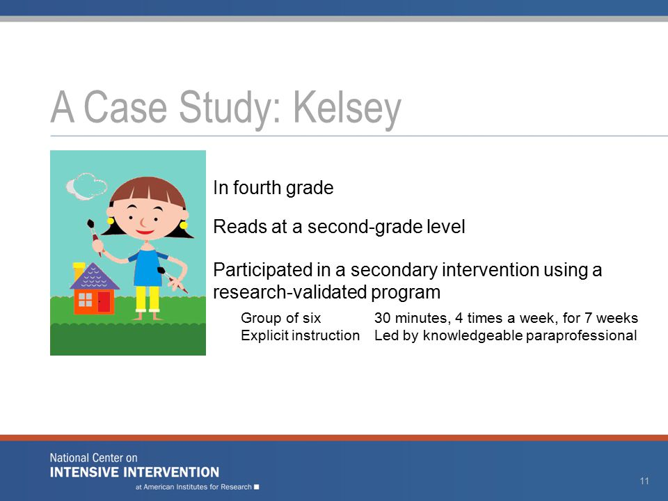 A Case Study: Kelsey 11 In fourth grade Reads at a second-grade level Participated in a secondary intervention using a research-validated program Group of six30 minutes, 4 times a week, for 7 weeks Explicit instructionLed by knowledgeable paraprofessional