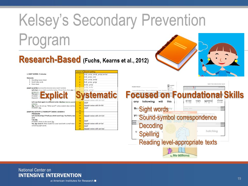 Kelsey's Secondary Prevention Program 19 Explicit Systematic Research-Based Research-Based (Fuchs, Kearns et al., 2012) Focused on Foundational Skills Sight words Sound-symbol correspondence DecodingSpelling Reading level-appropriate texts