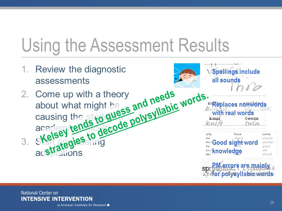 1.Review the diagnostic assessments 2.Come up with a theory about what might be causing the student's academic difficulty 3.Start considering adaptations Using the Assessment Results 28 bunny vu… IDK knife twin Spellings include all sounds Replaces nonwords with real words Good sight word knowledge PM errors are mainly for polysyllabic words spin … IDK count.