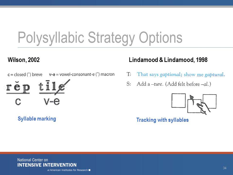 Polysyllabic Strategy Options 34 Wilson, 2002Lindamood & Lindamood, 1998 Syllable marking Tracking with syllables