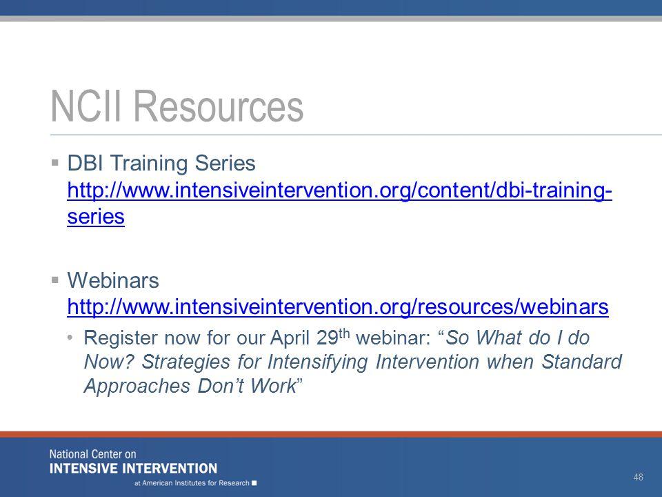  DBI Training Series http://www.intensiveintervention.org/content/dbi-training- series http://www.intensiveintervention.org/content/dbi-training- series  Webinars http://www.intensiveintervention.org/resources/webinars http://www.intensiveintervention.org/resources/webinars Register now for our April 29 th webinar: So What do I do Now.