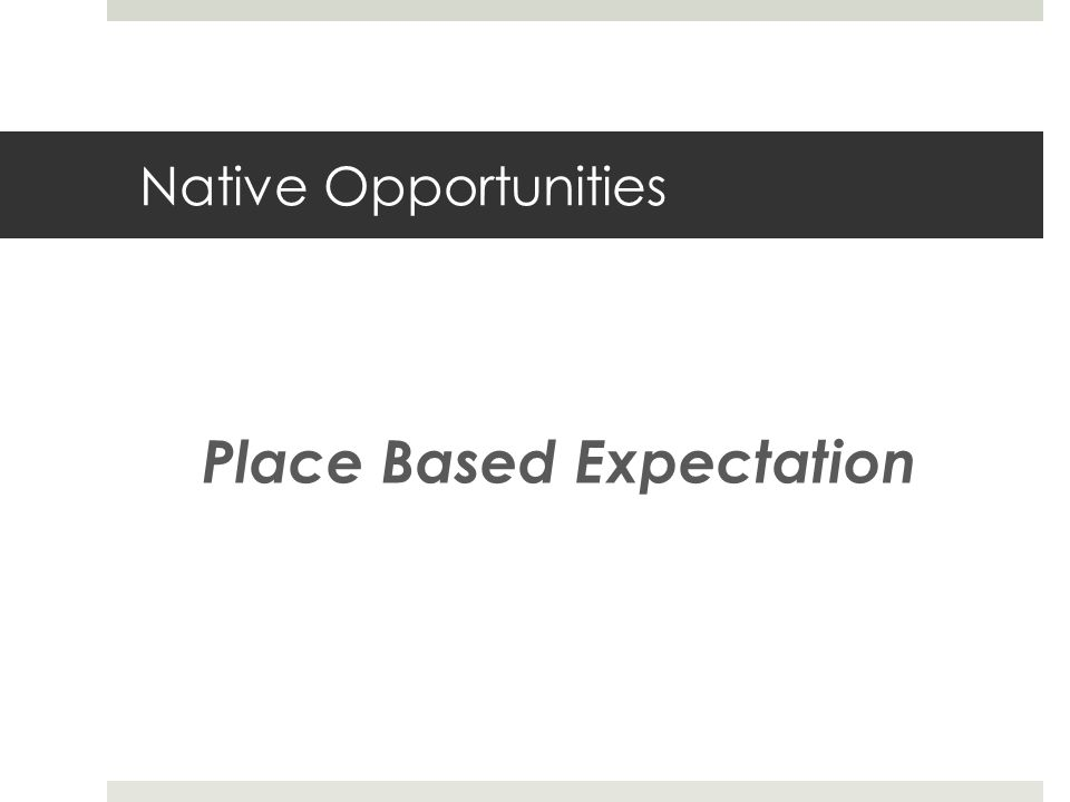 Native Opportunities Place Based Expectation