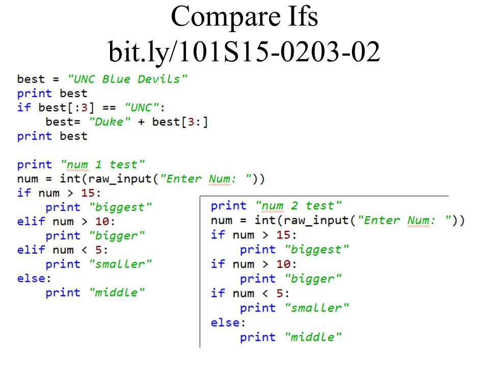 Compare Ifs bit.ly/101S15-0203-02