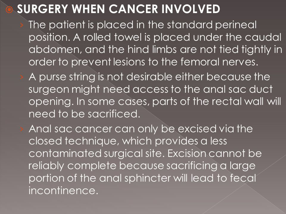  SURGERY WHEN CANCER INVOLVED › The patient is placed in the standard perineal position.