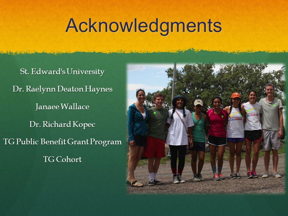 Acknowledgments St. Edward s University Dr. Raelynn Deaton Haynes Janaee Wallace Dr.