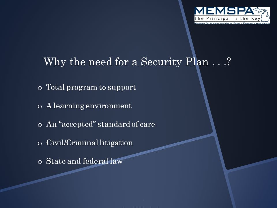Why the need for a Security Plan....