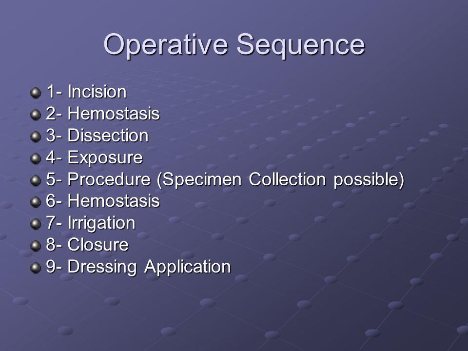 Operative Sequence 1- Incision 2- Hemostasis 3- Dissection 4- Exposure 5- Procedure (Specimen Collection possible) 6- Hemostasis 7- Irrigation 8- Clos