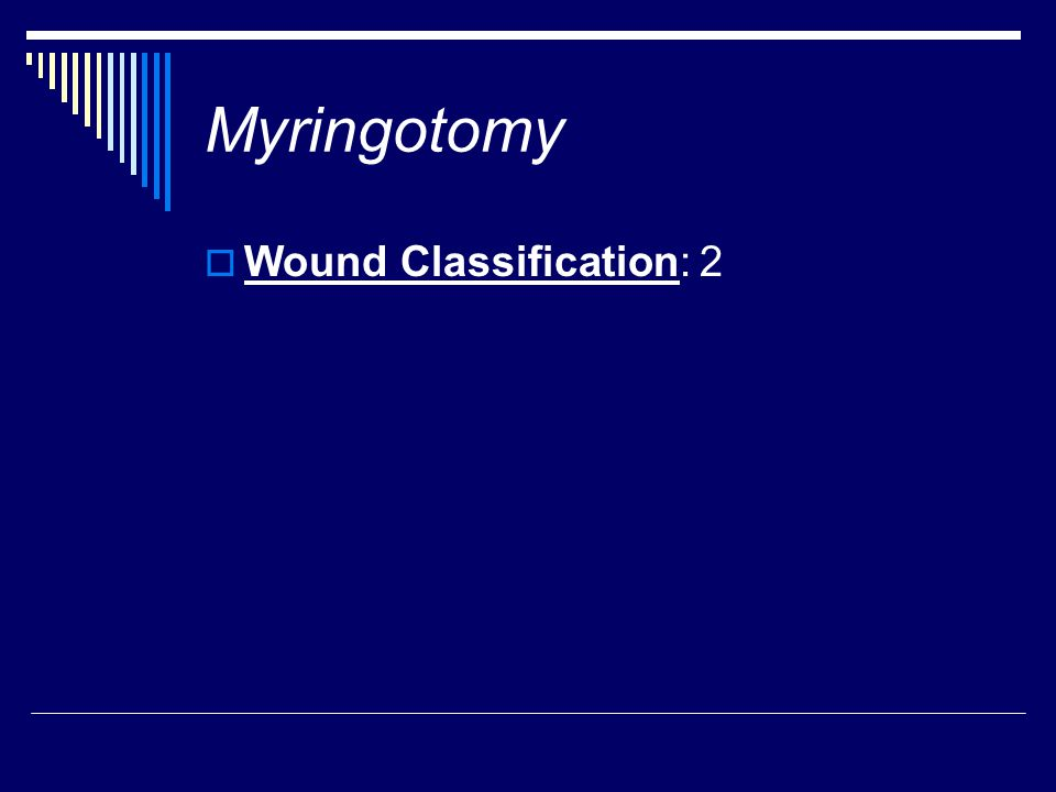 Myringotomy  Wound Classification: 2