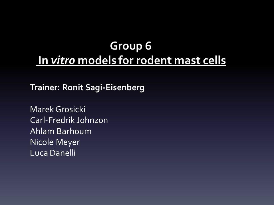 Group 6 In vitro models for rodent mast cells Trainer: Ronit Sagi-Eisenberg Marek Grosicki Carl-Fredrik Johnzon Ahlam Barhoum Nicole Meyer Luca Danelli