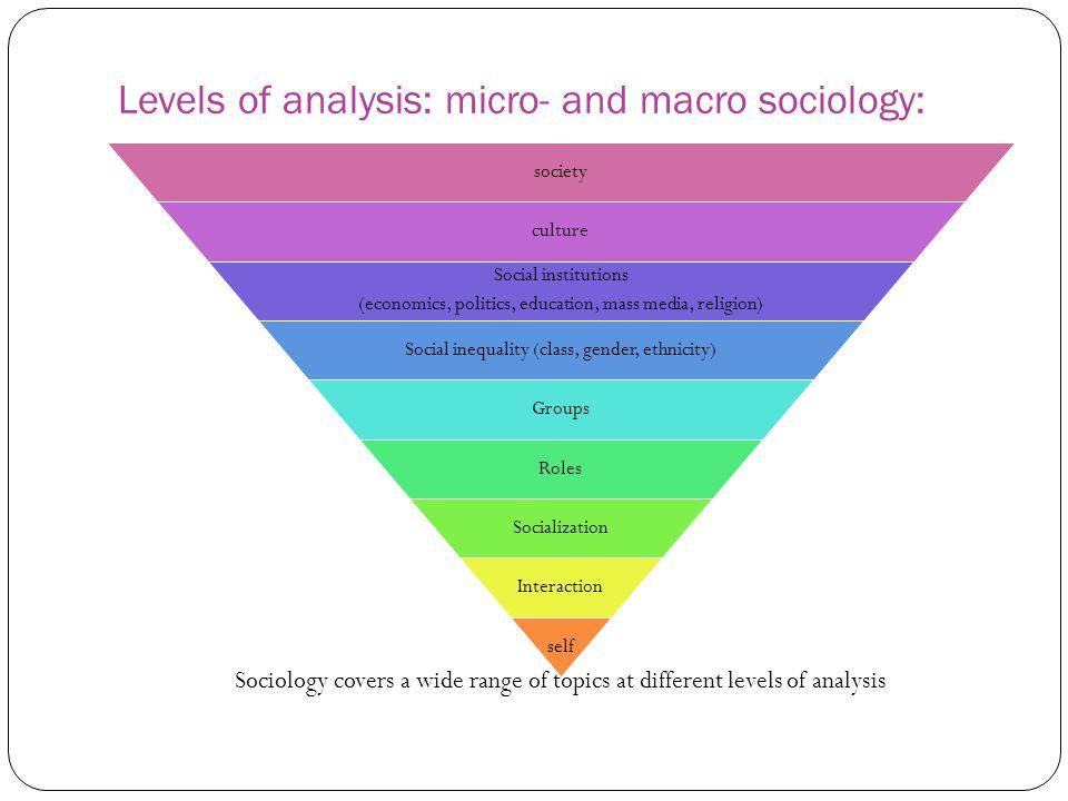Levels of analysis: micro- and macro sociology: society culture Social institutions (economics, politics, education, mass media, religion) Social ineq