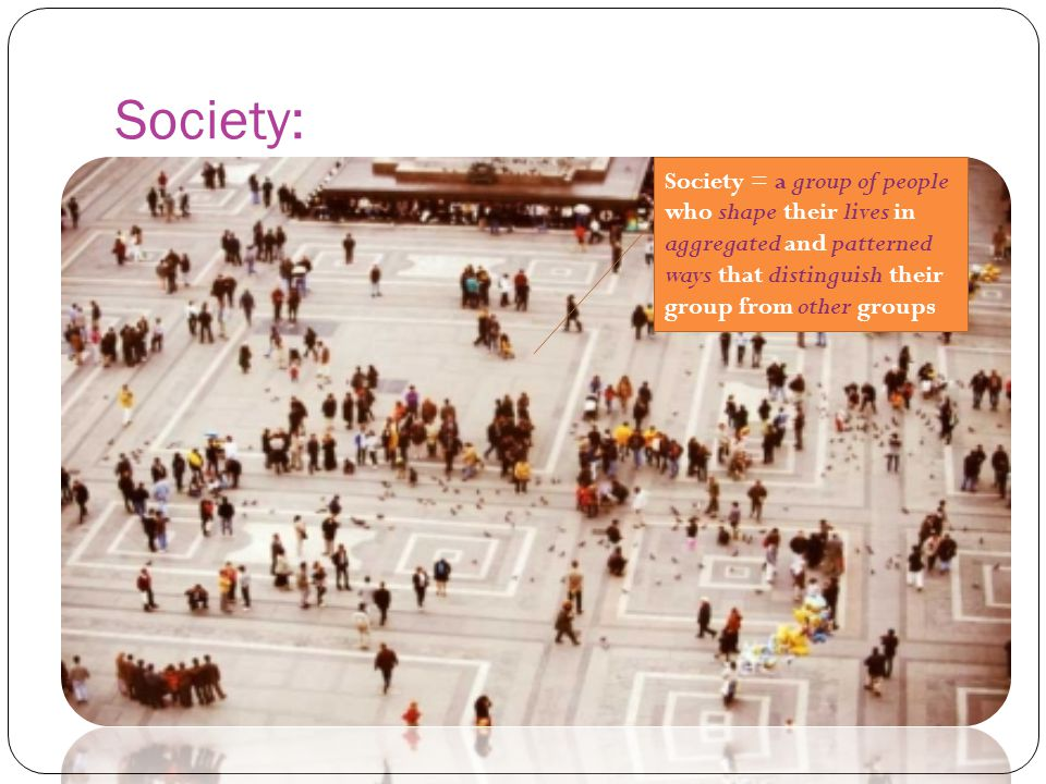 Society: Society = a group of people who shape their lives in aggregated and patterned ways that distinguish their group from other groups