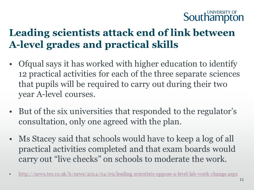Leading scientists attack end of link between A-level grades and practical skills Ofqual says it has worked with higher education to identify 12 pract