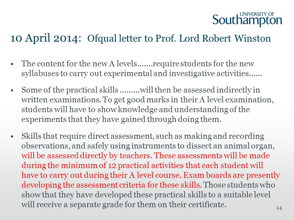 10 April 2014: Ofqual letter to Prof.