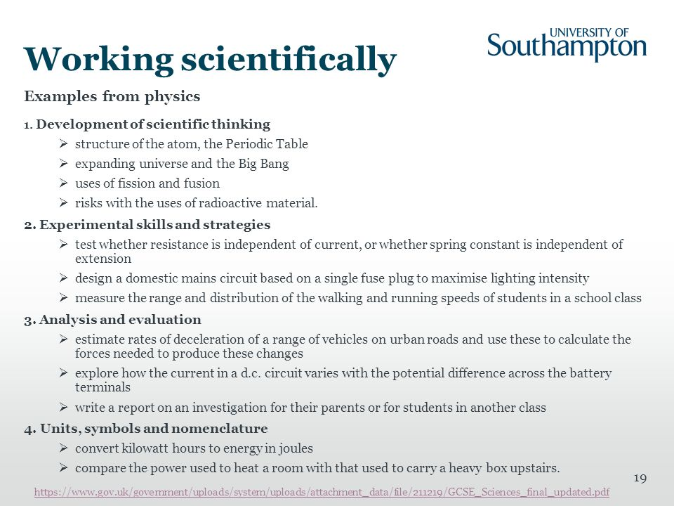 Working scientifically Examples from physics 1. Development of scientific thinking  structure of the atom, the Periodic Table  expanding universe an