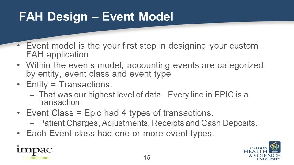 15 FAH Design – Event Model Event model is the your first step in designing your custom FAH application Within the events model, accounting events are categorized by entity, event class and event type Entity = Transactions.