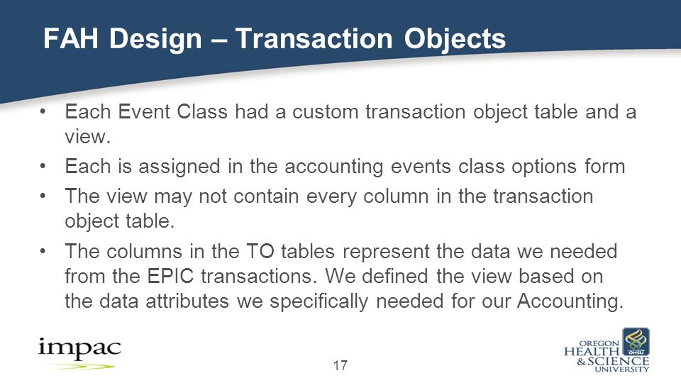 Each Event Class had a custom transaction object table and a view.