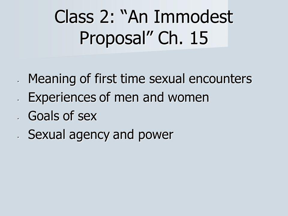 Class 2: An Immodest Proposal Ch.