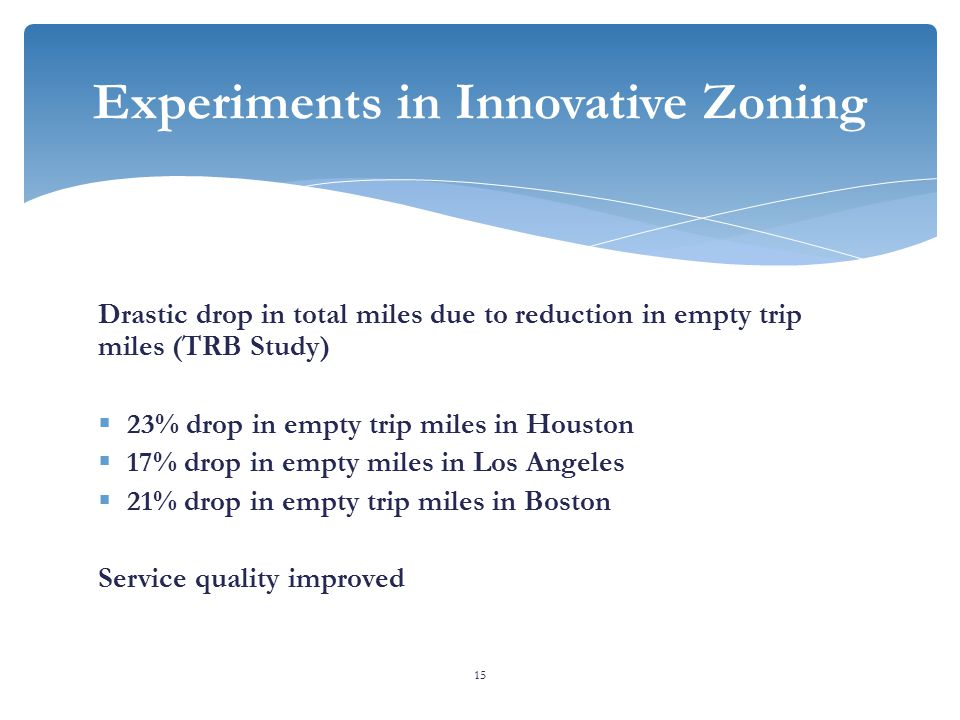 Drastic drop in total miles due to reduction in empty trip miles (TRB Study)  23% drop in empty trip miles in Houston  17% drop in empty miles in Los Angeles  21% drop in empty trip miles in Boston Service quality improved 15 Experiments in Innovative Zoning