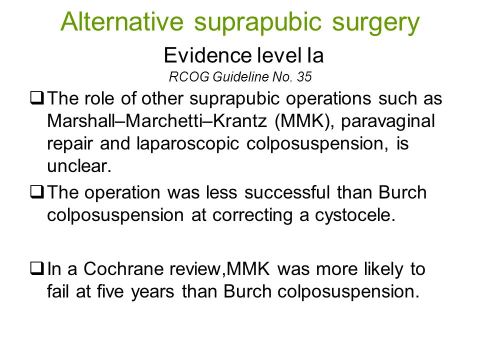 Alternative suprapubic surgery Evidence level Ia RCOG Guideline No.