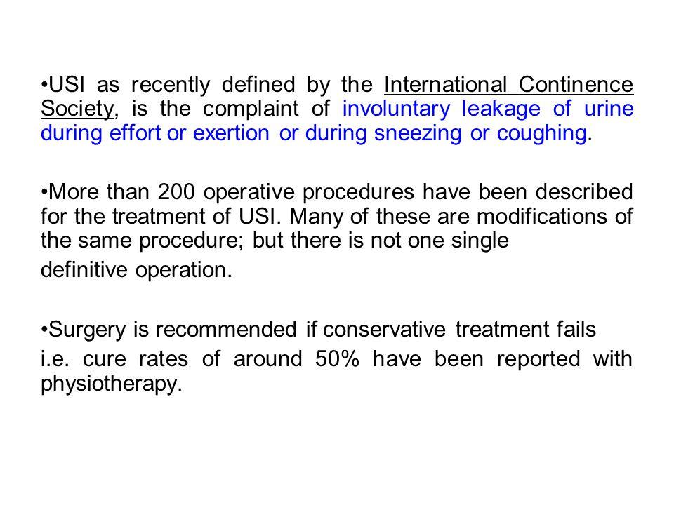 Needle suspension procedures Evidence level Ia RCOG Guideline No.