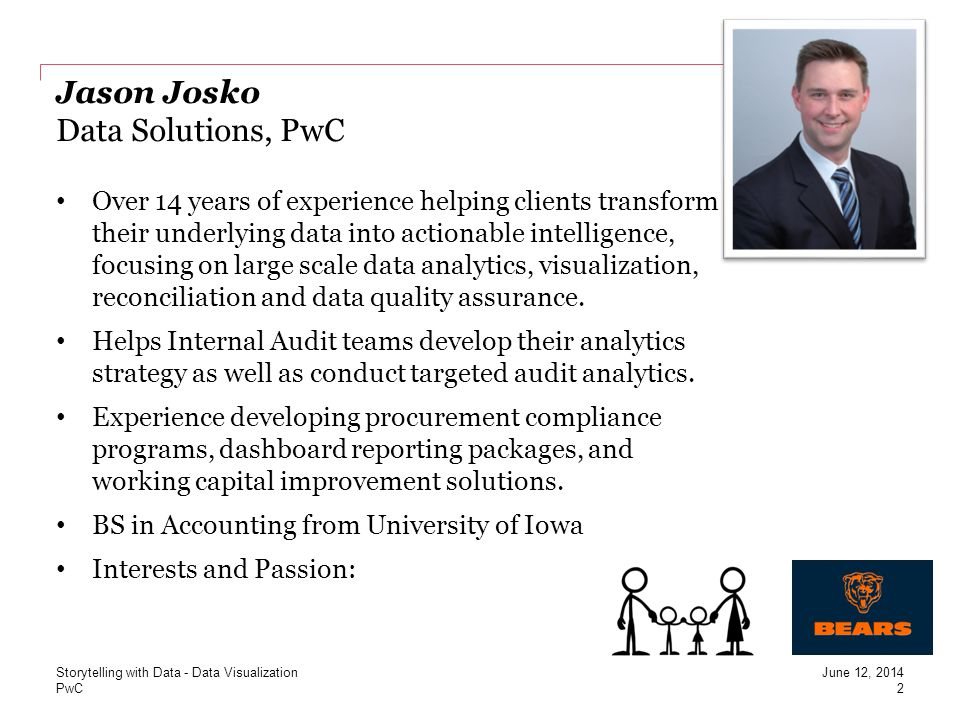 PwC Paba DMello Data Solutions, PwC Over 6 years of experience in data analytics Focus on Data Visualization and understanding business analytics needs of the clients Experience in integrating information from multiple data sources a efficiently executing assignment using dynamic tools.