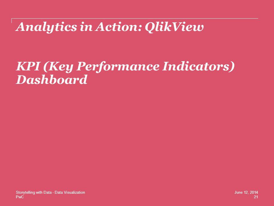 PwC Analytics in Action: QlikView KPI (Key Performance Indicators) Dashboard 21 June 12, 2014Storytelling with Data - Data Visualization