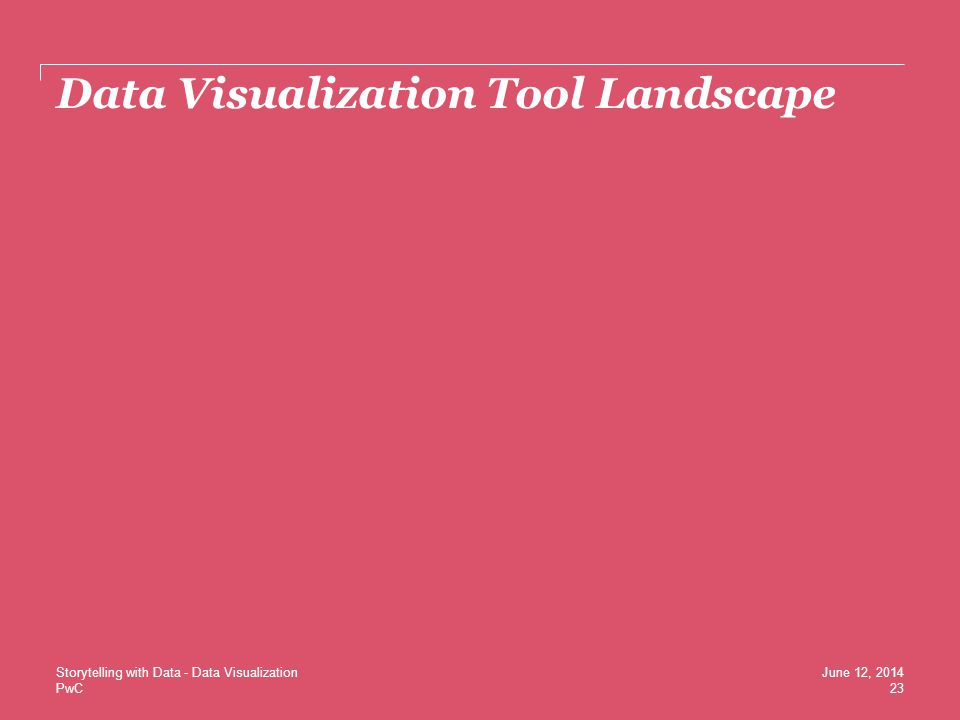 PwC Data Visualization Tool Landscape 23 June 12, 2014Storytelling with Data - Data Visualization