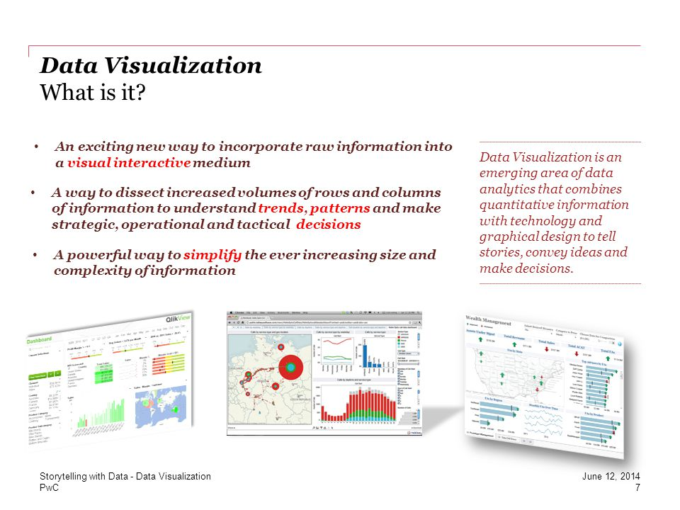 PwC Data Visualization What is it? 7 June 12, 2014 Data Visualization is an emerging area of data analytics that combines quantitative information wit